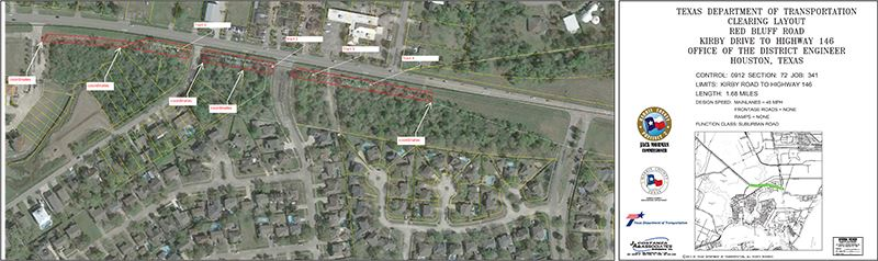Clearing Areas of Red Bluff Road Widening Project Map