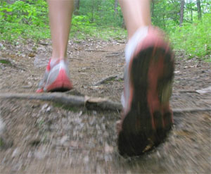 Close up of shoes walking on trail