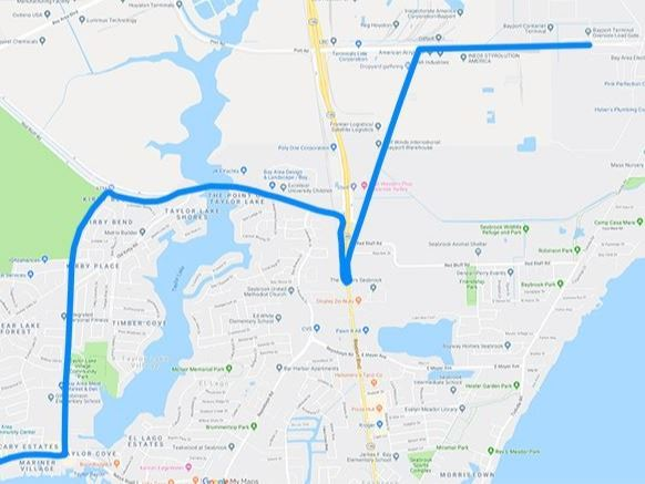 Map of Heavy Haul through Seabrook