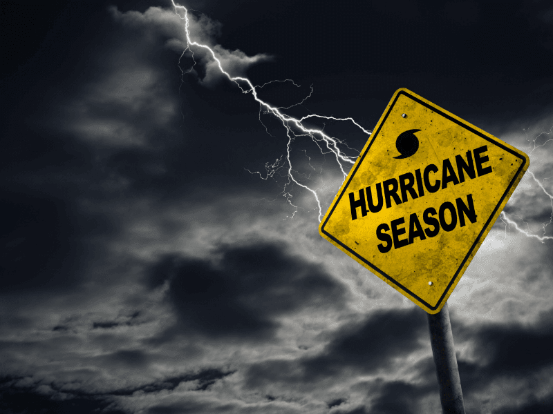 Hurricane Season Sign with clouds in background
